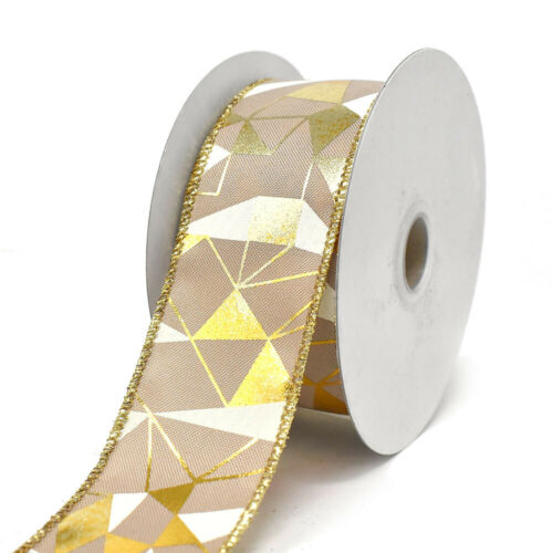 10-Yard 1-1//2-Inch Metallic and White Abstract Wired Ribbon