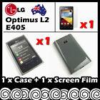 LG Optimus L2 E405 Grey Soft Jelly TPU Gel Skin Case Cover Screen Protector