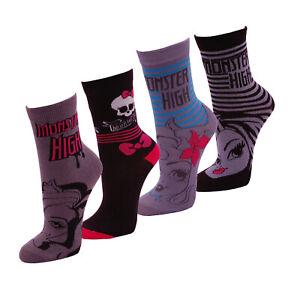 4-Paar-Disney-Monster-High-Maedchen-Socken