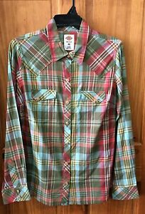 DICKIES-Women-039-s-Army-Green-Long-Sleeve-Plaid-Snap-Front-Shirt-FL051PLS