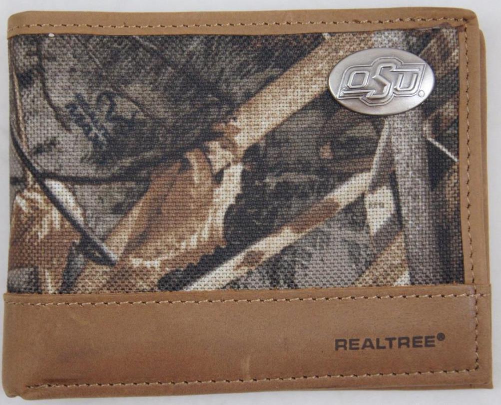 ZEP PRO Oklahoma State Cowboys Realtree MAX 5 Camo Bifold Wallet Tin Gift Box