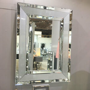 Madison Grey Glass With Mirrored Trim Large Rectangle Wall Mirror Bedroom 102cm Ebay