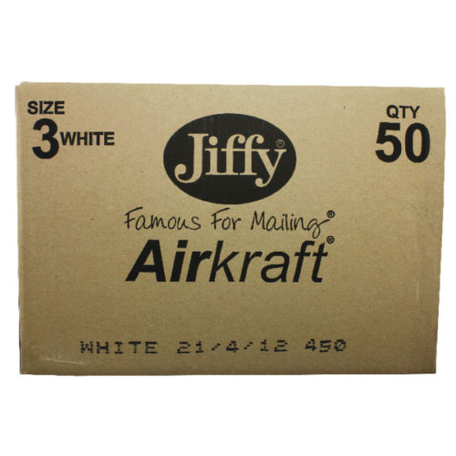 50 GENUINE JIFFY SIZE JL3-220 x 320mm WHITE PADDED MAILING BAGS//ENVELOPES