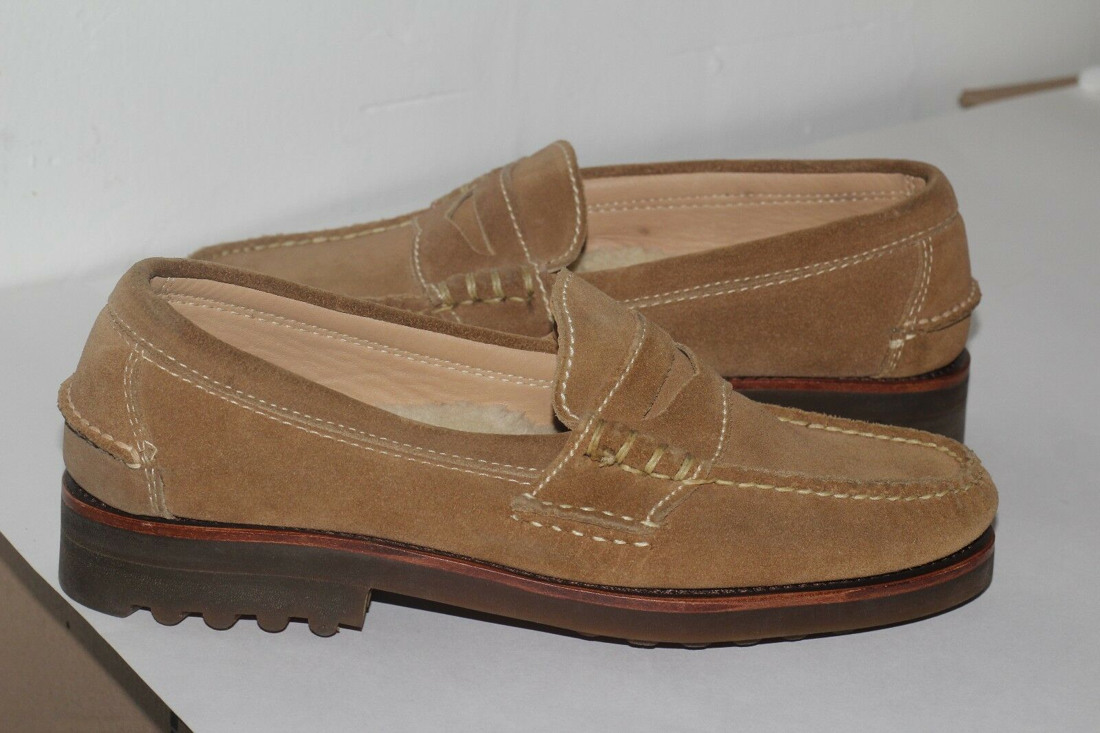 Polo Ralph Lauren Uomo Leather Shearling Fur suede suede suede Loafers sz 9 made in Usa bcbf0e