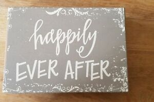 Shabby Chic Grey Happily Ever After Block Wedding Gift Decoration