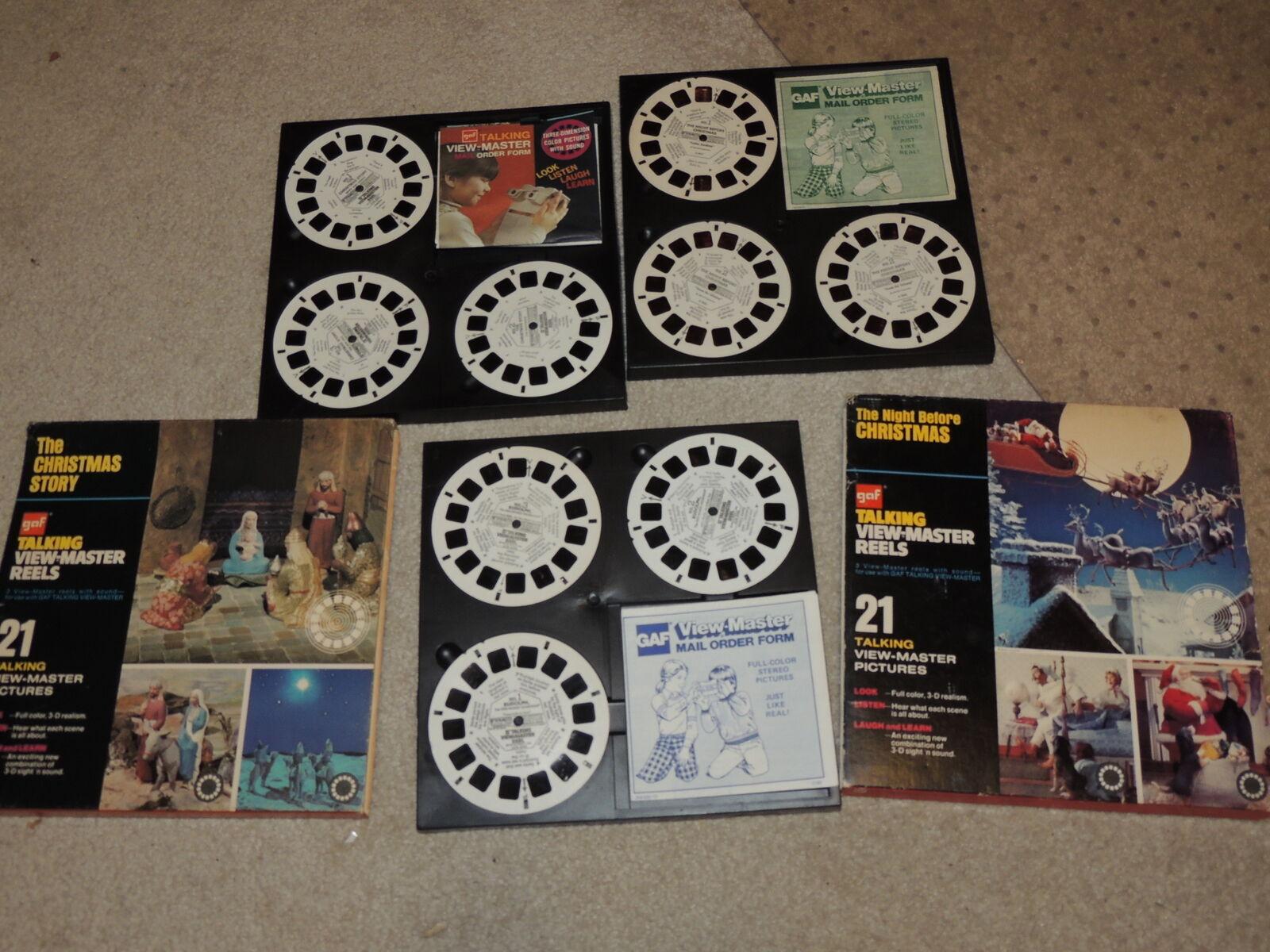 Talking Viewmaster Lot of 5 Christmas Stereo Reel Sets