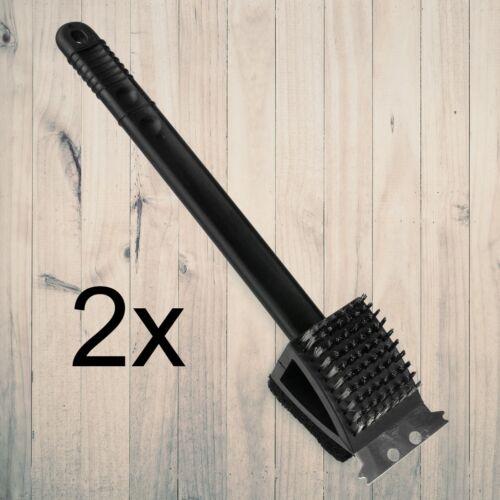 2x BBQ Grill-Bürste 3in1 für Edelstahl /&Gusseisen Reinigungsbürste Grill-Schaber