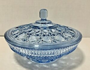 Vintage-Indiana-Glass-Windsor-Button-and-Cane-Aqua-Blue-Candy-Dish-Bowl-with-Lid