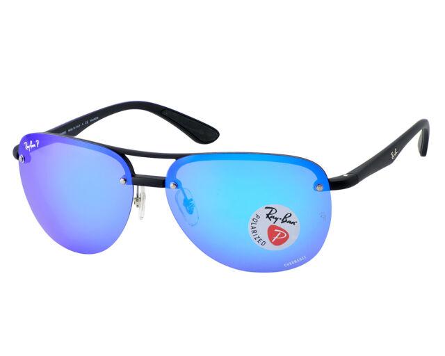 284af2facc7 Ray-Ban Black Frame Polarized Blue Mirror Chromance Unisex Sunglasses 63mm