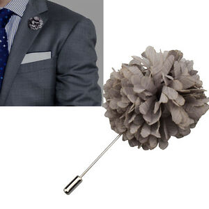 Nouveau-gris-revers-fleur-boutonniere-baton-broche-pin-chemise-homme-costume-cravate-fait-main