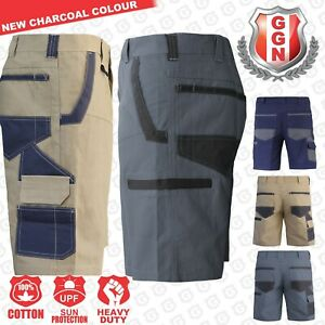 Mens-WORK-CARGO-SHORTS-Cotton-Drill-MULTI-POCKETS-UPF-50-TRADIE-HEAVY-DUTY
