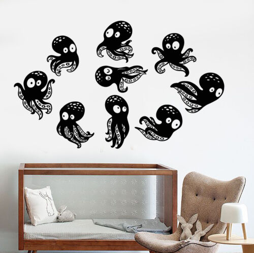 Vinyl Wall Decal Little Funny Octopus Sea Ocean Animal Nursery Stickers 1194ig