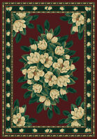 Magnolia Red Burgundy Green Floral Carpet Traditional Country Cottage Area Rug