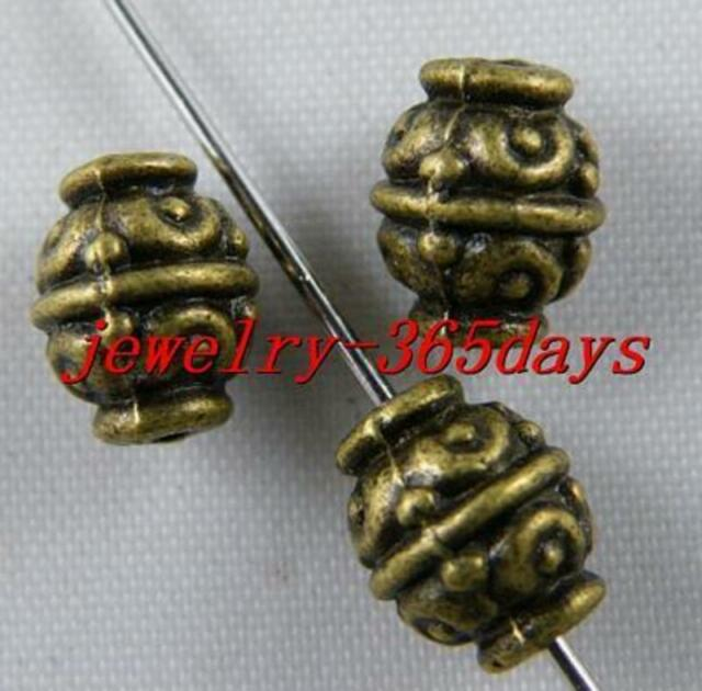 70pcs Tibetan Silver/Bronze Color Bicone Bead Spacers 9x7mm B58 1034
