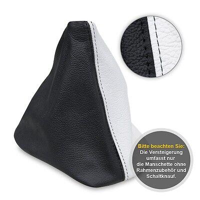 Schaltsack Schaltmanschette für Audi A4 B5 1994-98 Echtes Leder weiß-schwarz