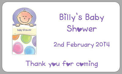 BABY SHOWER STICKERS THANK YOU BOYS GIRLS LABELS GIFT PRESENTS TAGS PERSONALISED