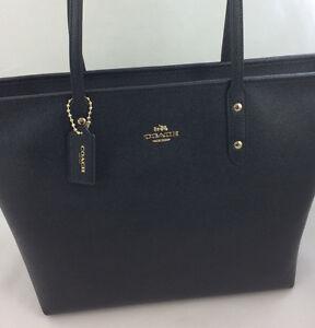 New-Coach-F58846-Crossgain-Leather-City-Zip-Tote-Handbag-Purse-Bag-Gold-Black