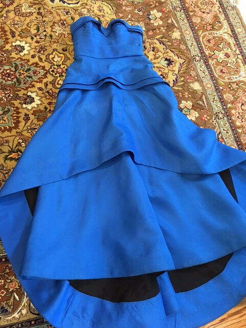J Mendel Bright bluee Turquoise Strapless Tiered Dress Gown Gown Gown Sz 12 9ecd82