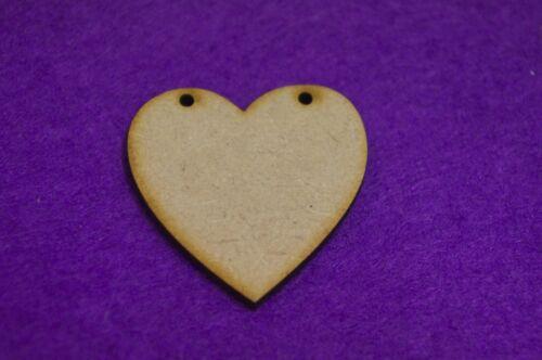 4cm 5cm 3cm Laser cut wooden shape MDF Heart Bunting two holes 2cm