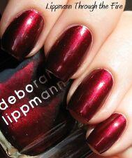 NEW! Deborah Lippmann THROUGH THE FIRE Nail Polish FULL size RED MERLOT