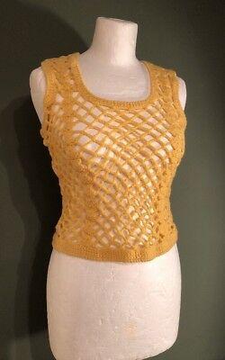100% Vero Vintage 1970s Retro Handmade Crochet Canotta Gilet Xs-mostra Il Titolo Originale
