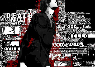 STICKERS AUTOCOLLANT TRANSPARENT POSTER A4 DEATH NOTE LIGHT YAGAMI
