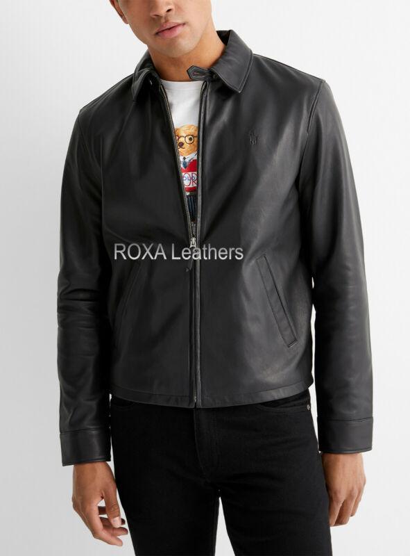 Roxa New Fashion Men's Genuine Lambskin Real Leather Jacket Black Biker Zip Coat
