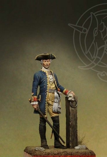 Romeo 54mm Officer 4th Infantry Regiment. - Prussia 1756-63 White Metal Model -