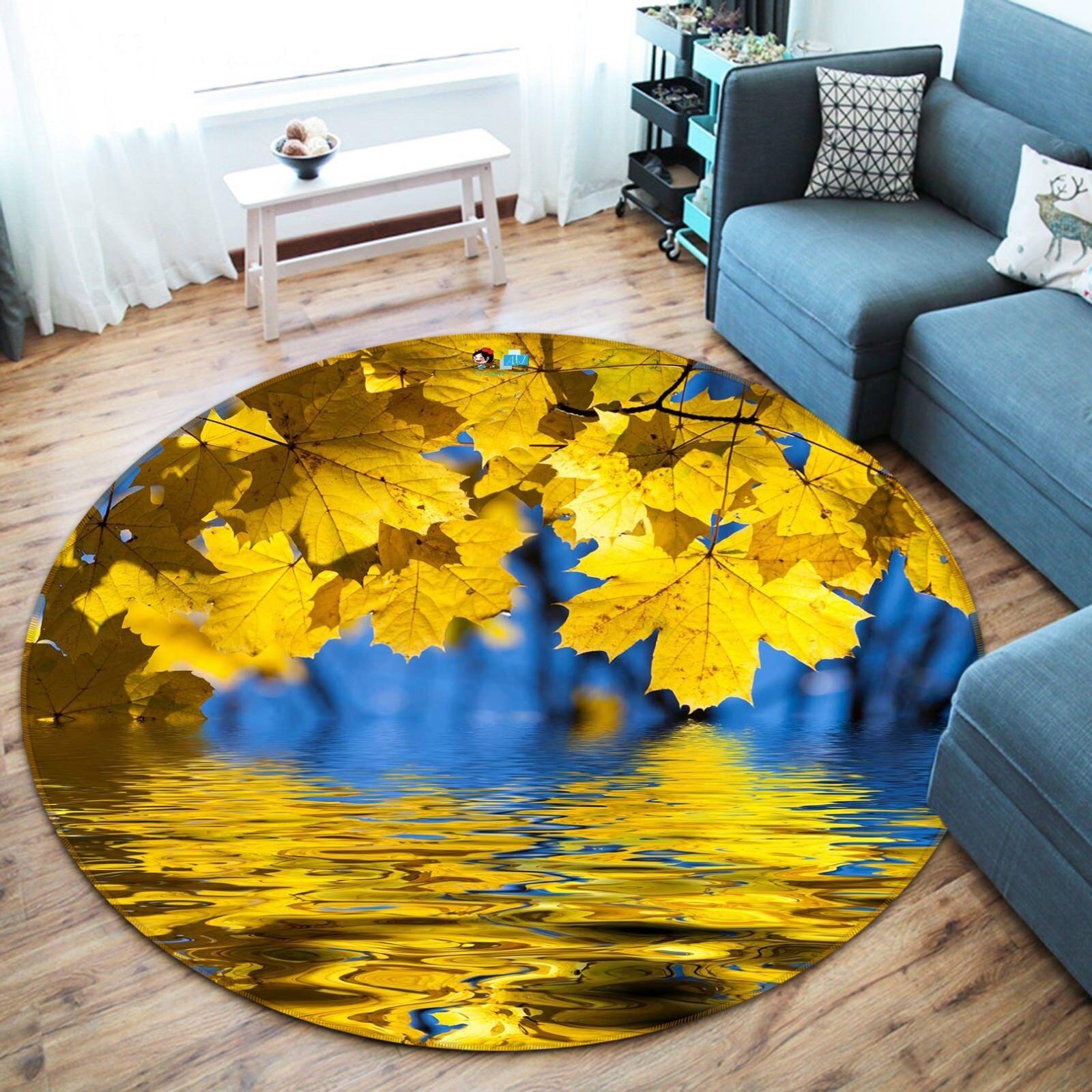 3D Hanging Leaves 031 Non Slip Rug Mat Room Mat Round Quality Elegant Carpet AU