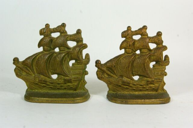 Vintage Brass Ship Bookends Small Nautical