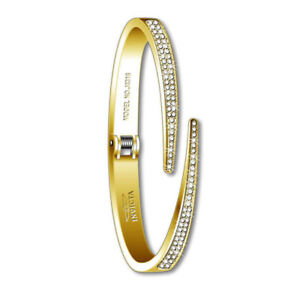 Invicta-Women-039-s-Cuff-Bracelet-Gold-Tone-Stainless-Steel-Crystal-Hinged-J0316