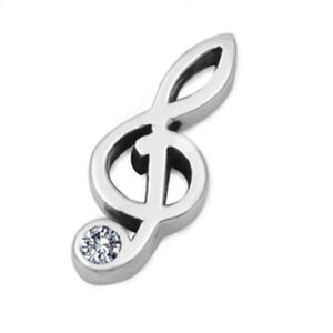 Music Note Pendant .925 Sterling Silver Treble Clef Charm