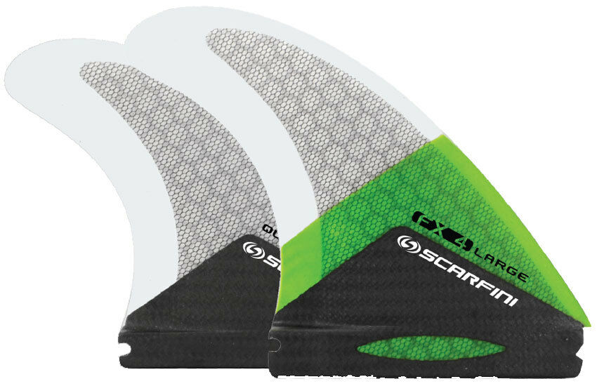 Scarfini Fins - FX4-Quad (Futures) - Green - Large - Thruster - Surfboard Fins