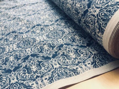 Barroco Floral Vintage Damasco Tejido Jacquard Cortina Material de 140 cm de ancho azul marino