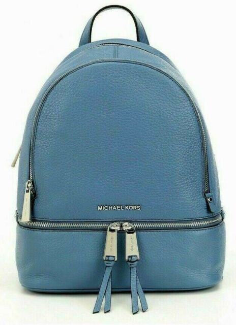 229cd37d64ed MICHAEL KORS RHEA ZIP MEDIUM BACKPACK BLUE VENUS LEATHER SILVER TRAVEL ❤NWT❤
