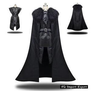 Dettagli su Trono Spade Vestito Carnevale Uomo simile Jon Snow Cosplay Costume GTHJS01