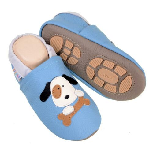 Liya/'s Babyschuhe Hausschuhe Lederpuschen #646c Hund mit Knochen in hellblau