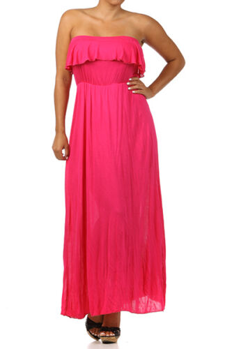 Plus Dress Maxi Strapless Tube 1X 2X 3X Ruffle Casual Long Summer Women New
