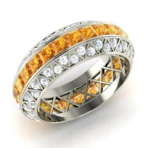 3.70 Ct Citrine Princess Diamond Wedding Eternity Band 925 Sterling Silver 5.5 6