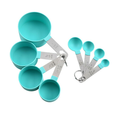 8pcs Measuring Cups Spoons Baking Cooking Kitchen Tools Set Stainless Steel PP