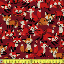 Cosmo Textiles Fabric Retro Fox Family Brown PER METRE Cute Foxes Wildlife Anima