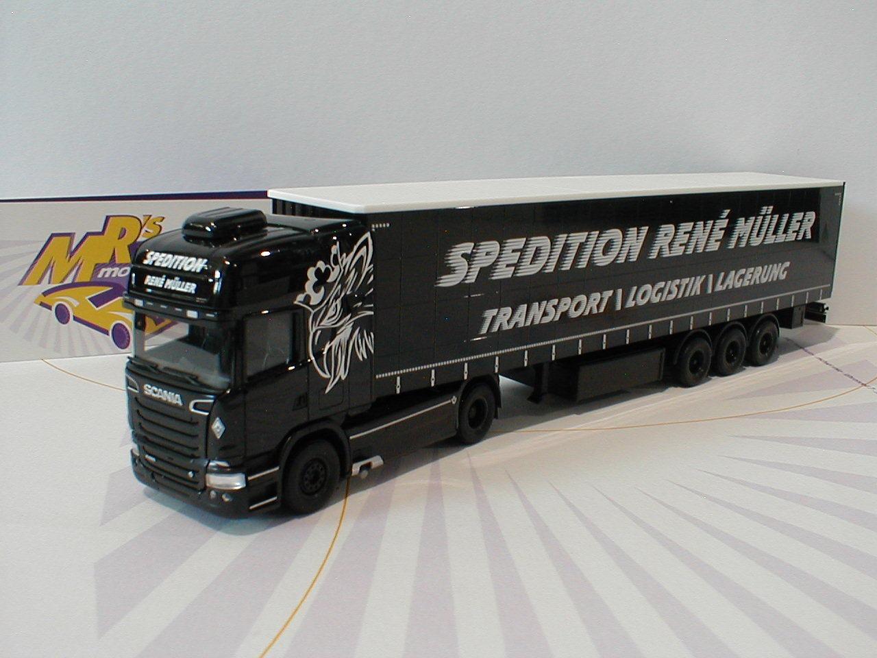 Herpa 308748-SCANIA R TL rideaux planifier-Semi-remorque  René Müller transports