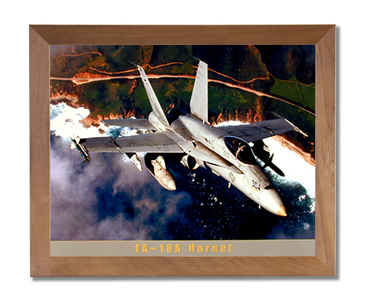FA-18A Hornet Jet Airplane Wall Picture Honey Framed Art Print