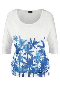 Laura-Scott-Damen-T-Shirt-bedruckt-kurzarm-Shirt-Bluse-Tunika-weiss-137667
