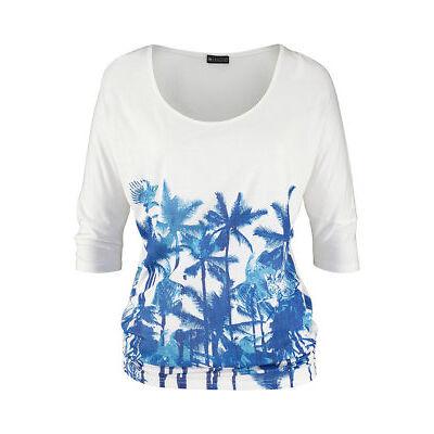 Laura Scott Damen T-Shirt bedruckt kurzarm Shirt Bluse Tunika weiss 137667