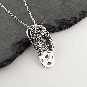 flip flop necklace 925 sterling silver plumeria. Black Bedroom Furniture Sets. Home Design Ideas