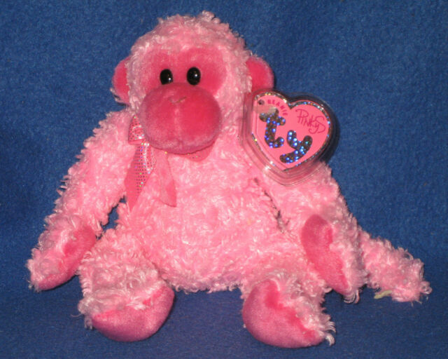 1047aaa8294 Ty Pinkys Julep Monkey Soft Valentines Beanie Babies 2004 Fuzzy Bow Sparkly