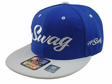 NEW VINTAGE SWAG FLAT BILL SNAPBACK BASEBALL CAP HAT ROYAL BLUE/WHITE