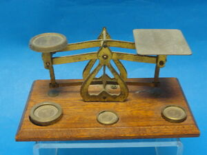 Antique-English-Postal-Scale-Brass-with-Wood-Platform