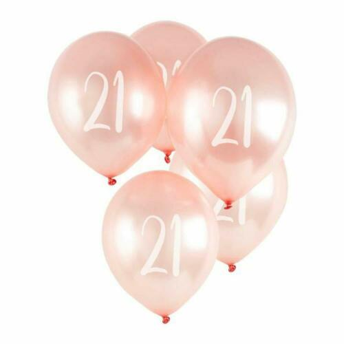21st Birthday Anniversary Rose Gold Latex Balloons Pack of 5 Air or Helium
